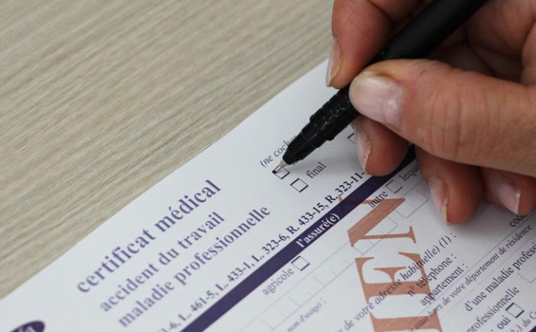 Photographie d'un certificat d'arrêt de travail